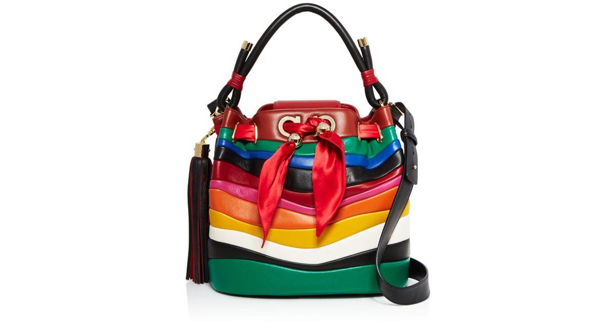 Lyst - Ferragamo X Sara Battaglia Medium Rainbow Bucket Bag 3a468d68870d0
