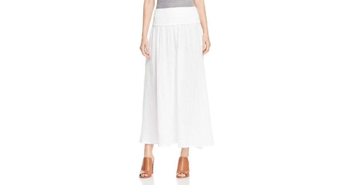 three dots cotton gauze maxi skirt in white lyst
