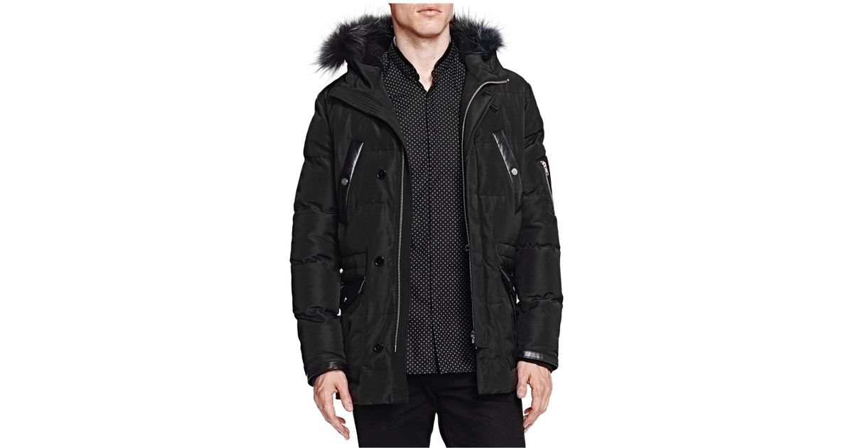 And Kooples In The Leather Men For Puffer Heavy Coat Lyst Black Nylon IqSx4gw4A