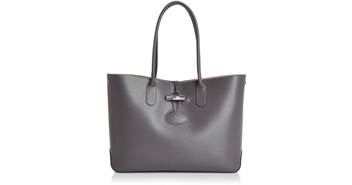 4a0953d62850 Lyst - Longchamp Roseau Leather Tote in Gray