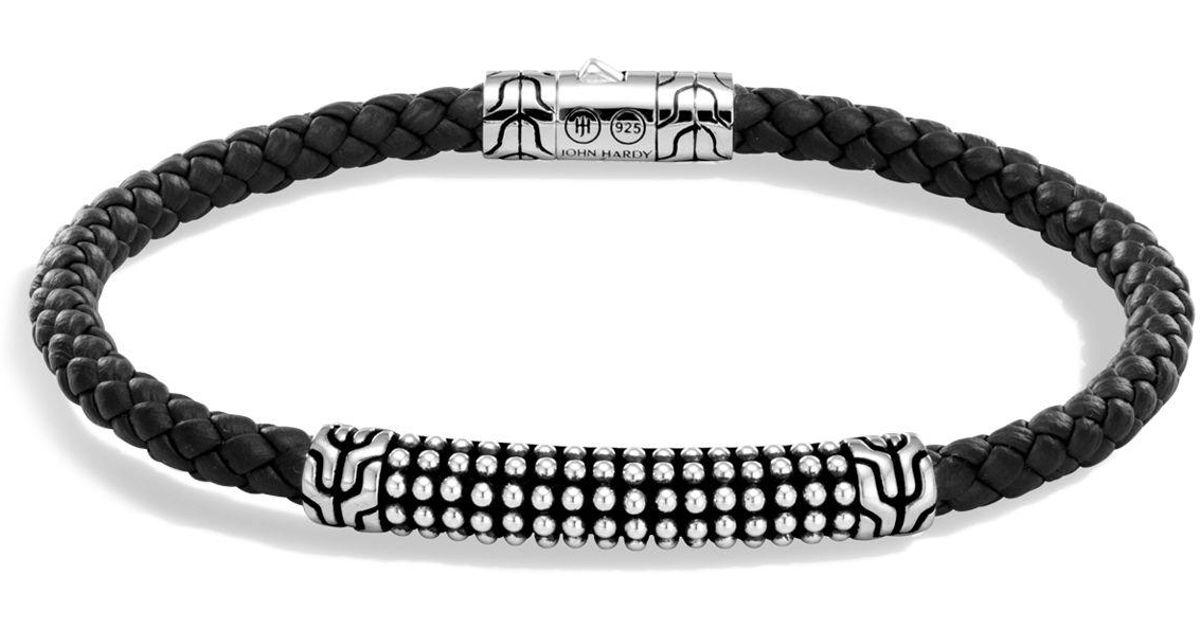 John Hardy Mens Classic Chain Braided Leather Jawan Bracelet XuZVq8Ia