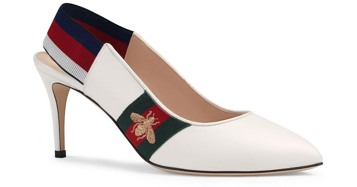 3317a1739a49 Lyst - Gucci Women s Sylvie Leather Web Mid Heel Slingback Pumps in White