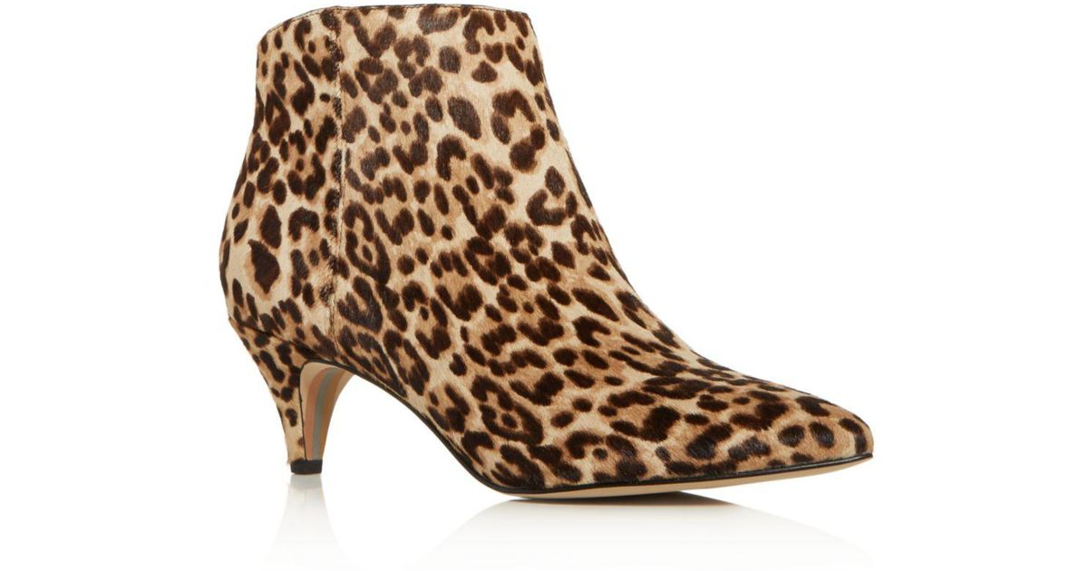 d6cb1b89c Lyst - Sam Edelman Women s Kinzey Leopard Print Calf Hair Kitten-heel  Booties in Brown