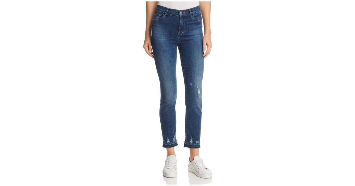 e2fa9e92c2bd Lyst - J Brand Ruby High Rise Crop Jeans In Tonic in Blue