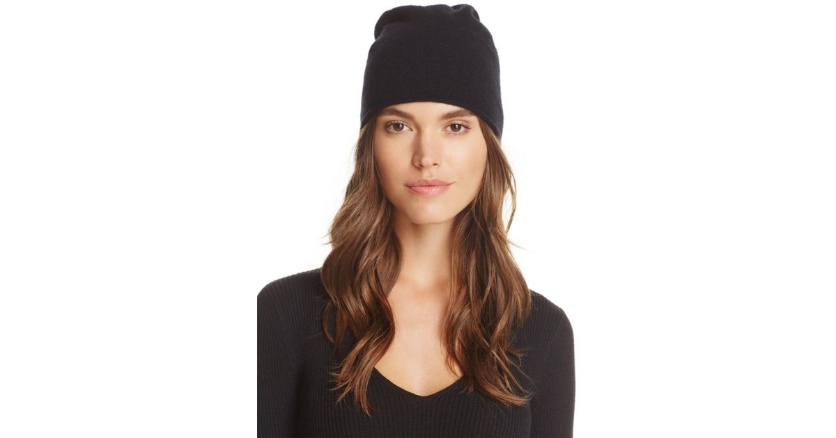 Lyst - C By Bloomingdale s Angelina Cashmere Slouch Hat in Black 95dfccf71749