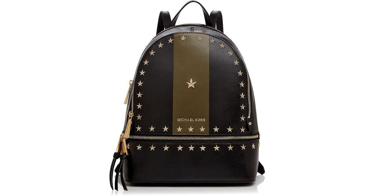 cbf898a196ce MICHAEL Michael Kors Rhea Star Stud Medium Leather Backpack - Lyst