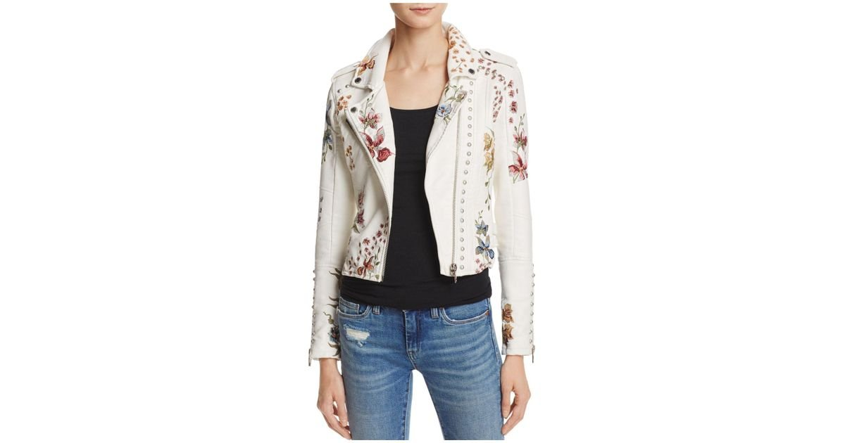 BLANKNYC Floral Embroidered Studded Faux Leather Moto Jacket