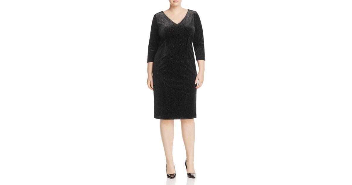 9d3776f504f Marina Rinaldi Oregon Stretch Velour Dress in Black - Lyst