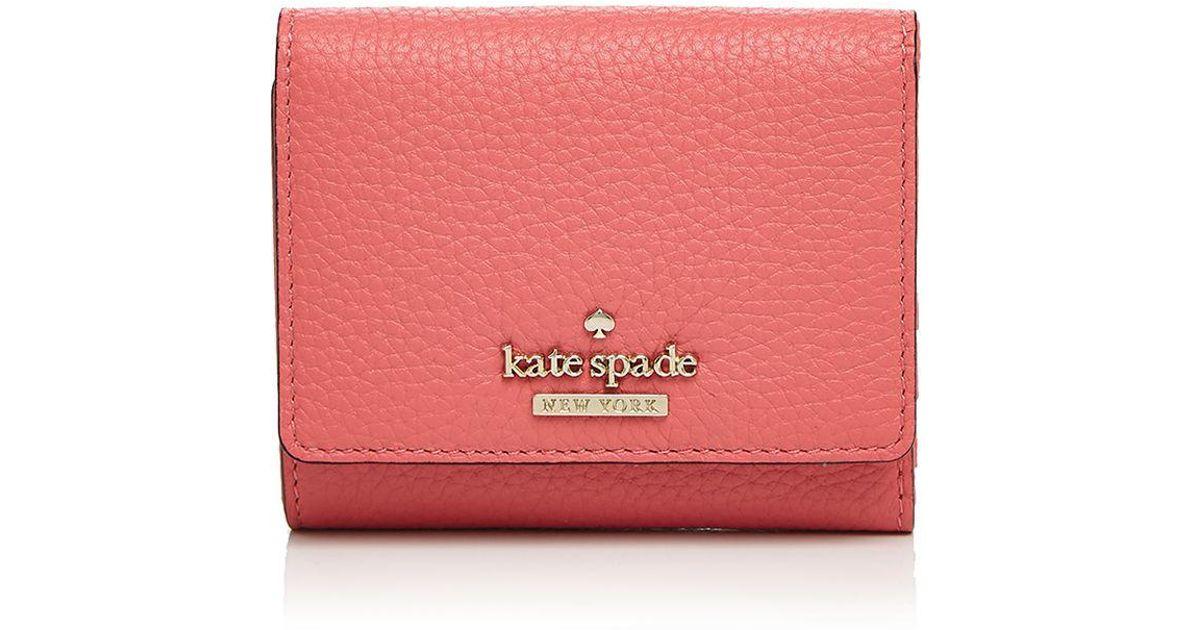 d9f939766e62 Lyst - Kate Spade Jackson Street Jada Pebbled Leather Trifold Wallet