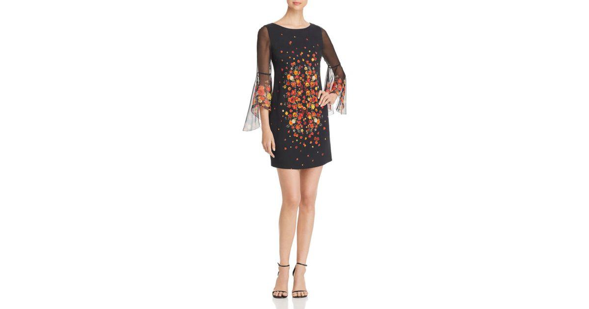 101efb1baa1a8 Elie Tahari Esmarella Floral Print Bell Sleeve Dress in Black - Lyst