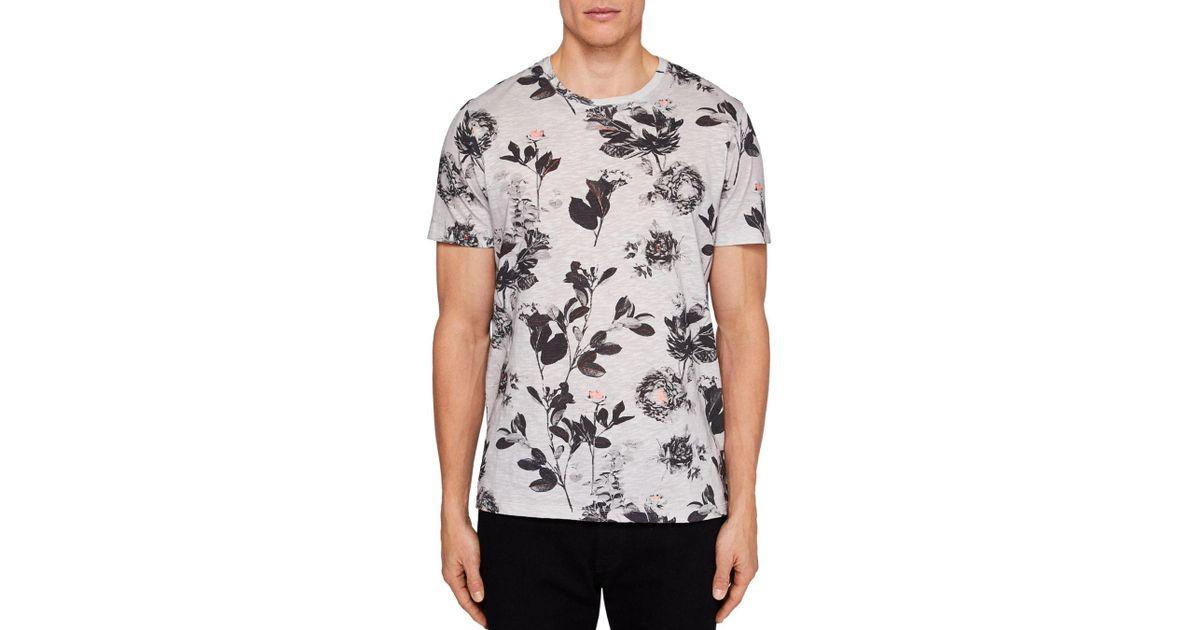 320d39124524 Lyst - Ted Baker Doberma Floral Print Tee in Gray for Men