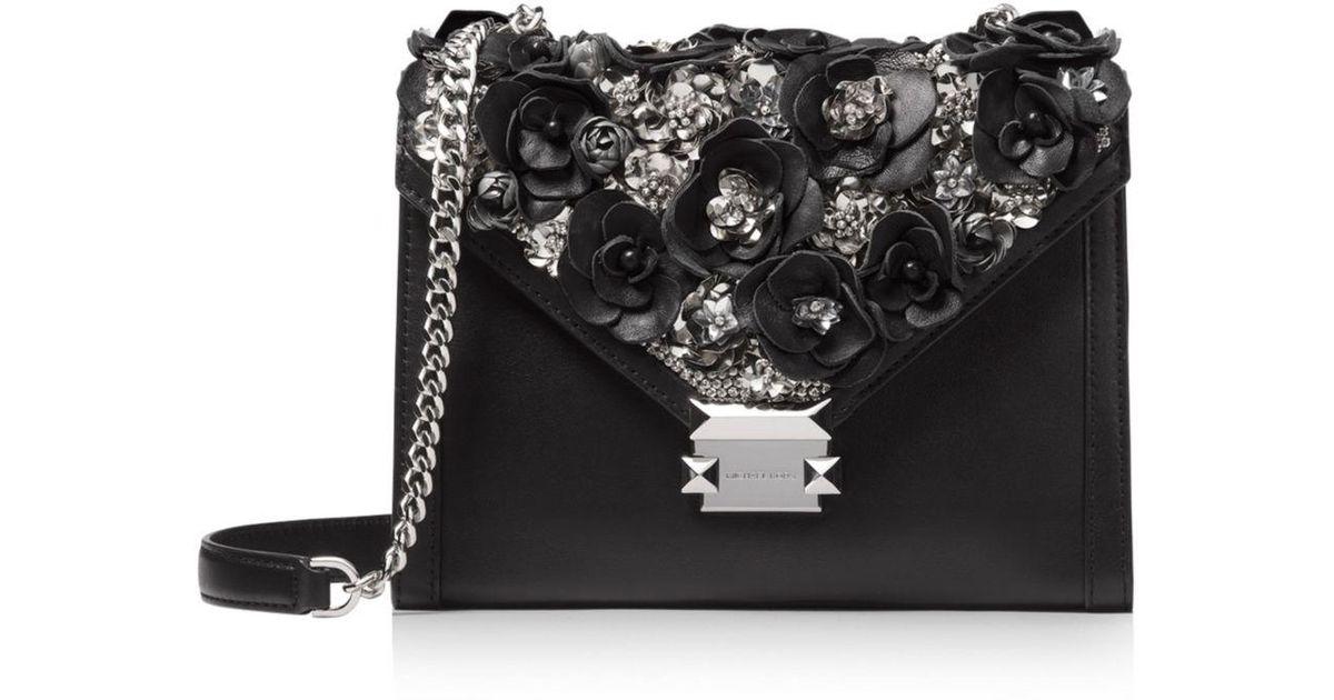 7c9713cbedfe MICHAEL Michael Kors Whitney Floral Beaded Convertible Shoulder Bag in  Black - Lyst