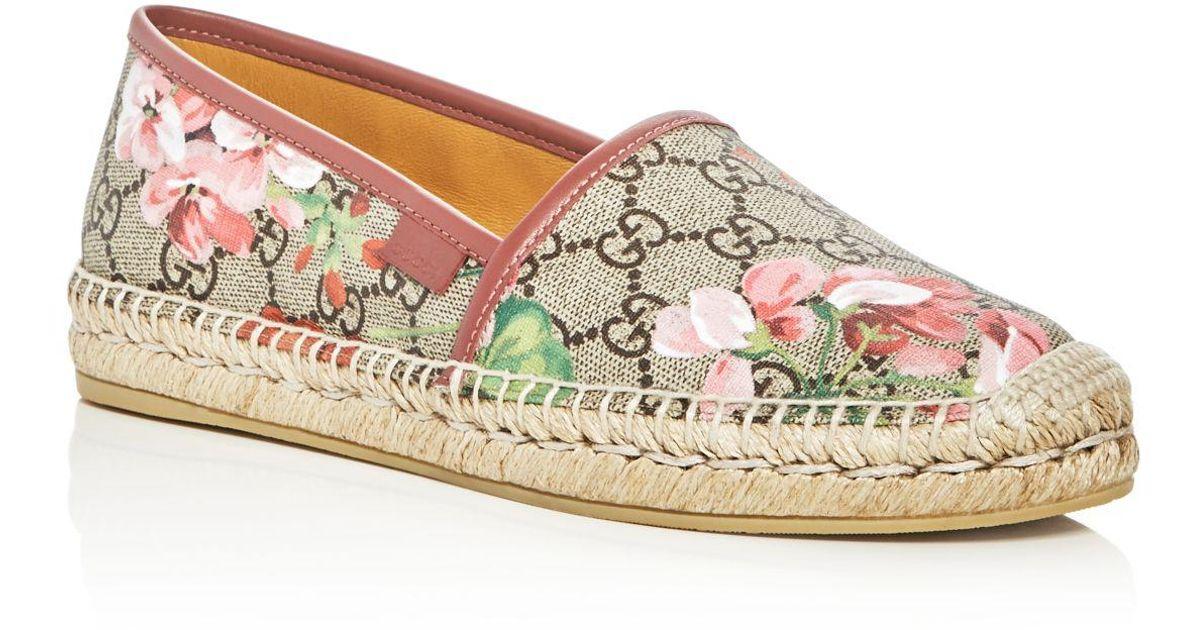 3f182f0957b Lyst - Gucci Gg Blooms Supreme Espadrille Flats in Pink