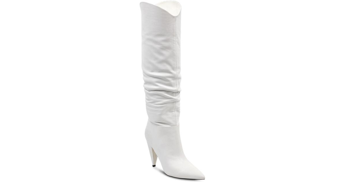 Lyst - Marc Fisher Women s Hanny Leather Slouchy Tall Boots in White ce36305fd3a9