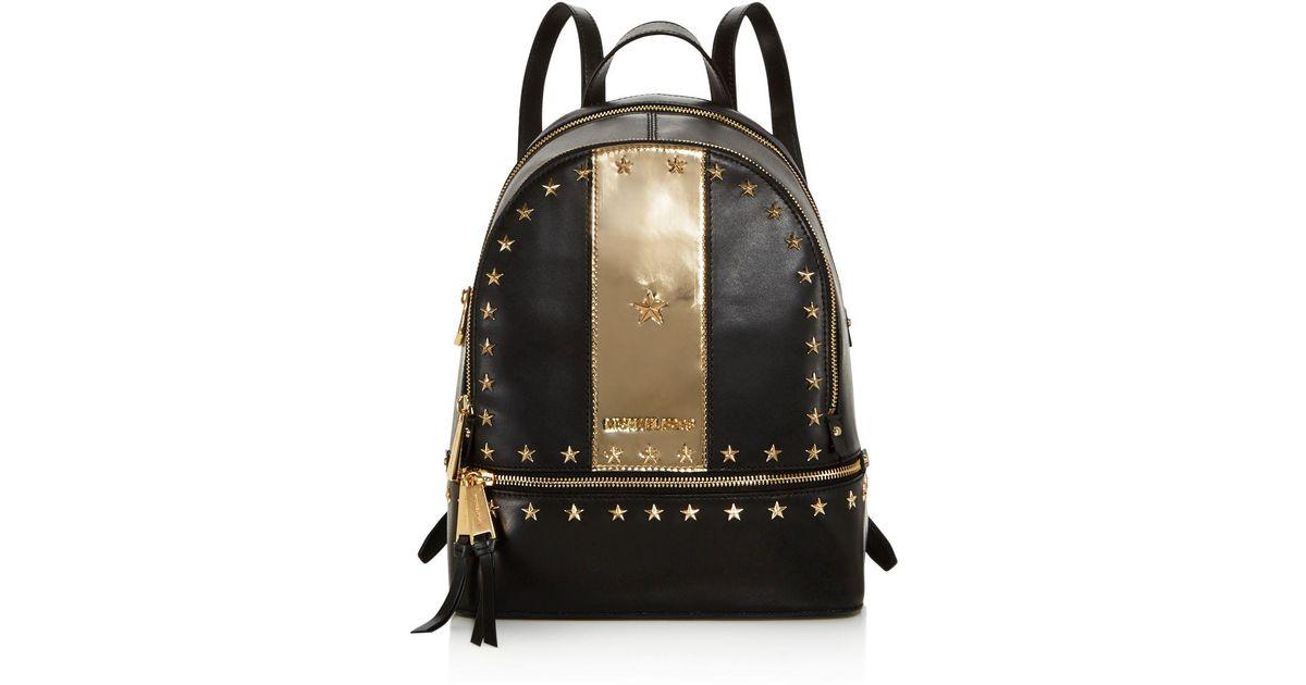 950c22488194 MICHAEL Michael Kors Rhea Star Stud Medium Leather Backpack in Black - Lyst