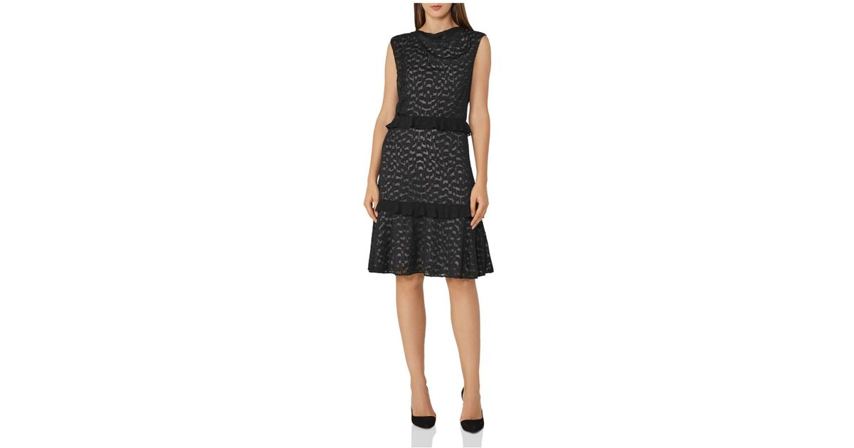 purchase cheap footwear wholesale Reiss Abigail Ruffled Embroidered Burnout Dress in Black - Lyst