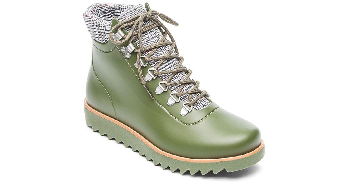 ab43f15acb1b60 Lyst - Bernardo Winnie Lace-up Rubber Rain Boots in Green - Save 1%