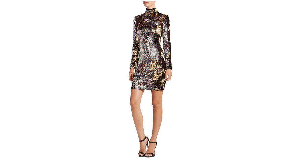 fc0dd88eee3f Dress the Population Katy Mock-neck Sequin Dress - Lyst