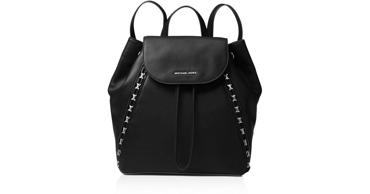 3b109302f low price michael michael kors sadie medium leather backpack in black lyst  5537c d650c