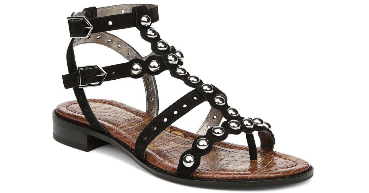7238c3799 Lyst - Sam Edelman Women s Elisa Studded Suede Sandals in Black