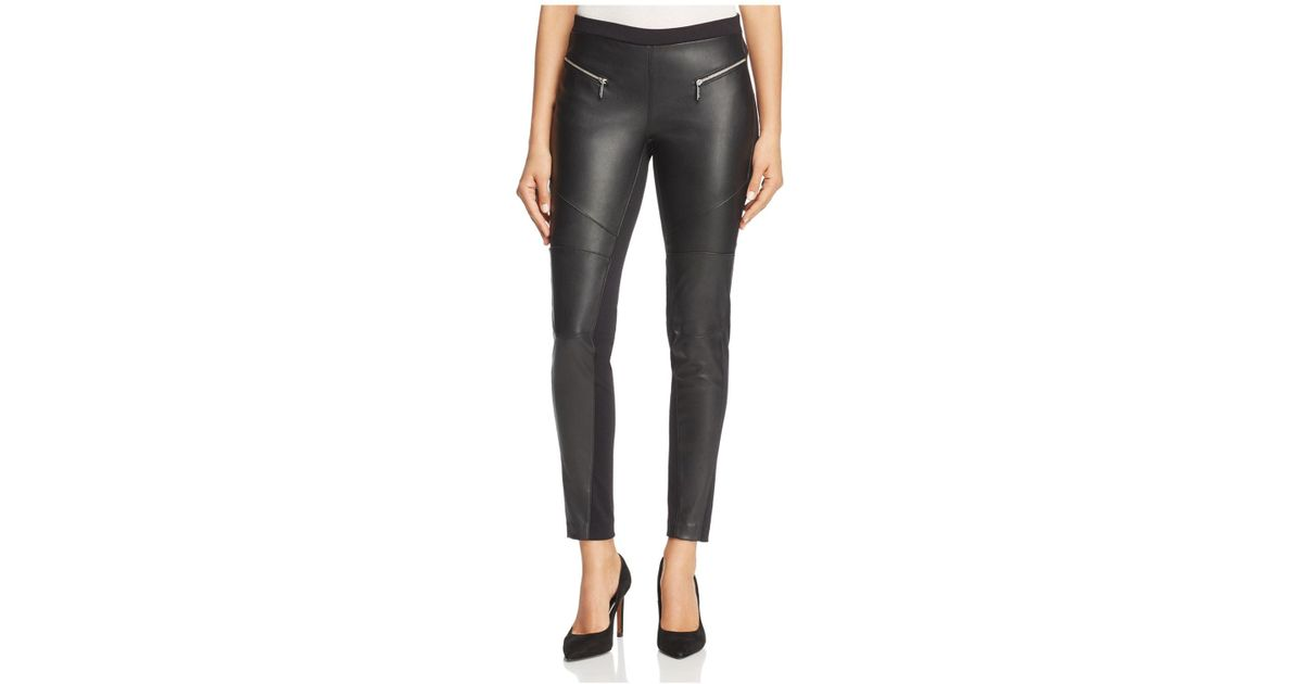 21a89480ffc1a Lyst - MICHAEL Michael Kors Faux-leather Front Moto Leggings in Black