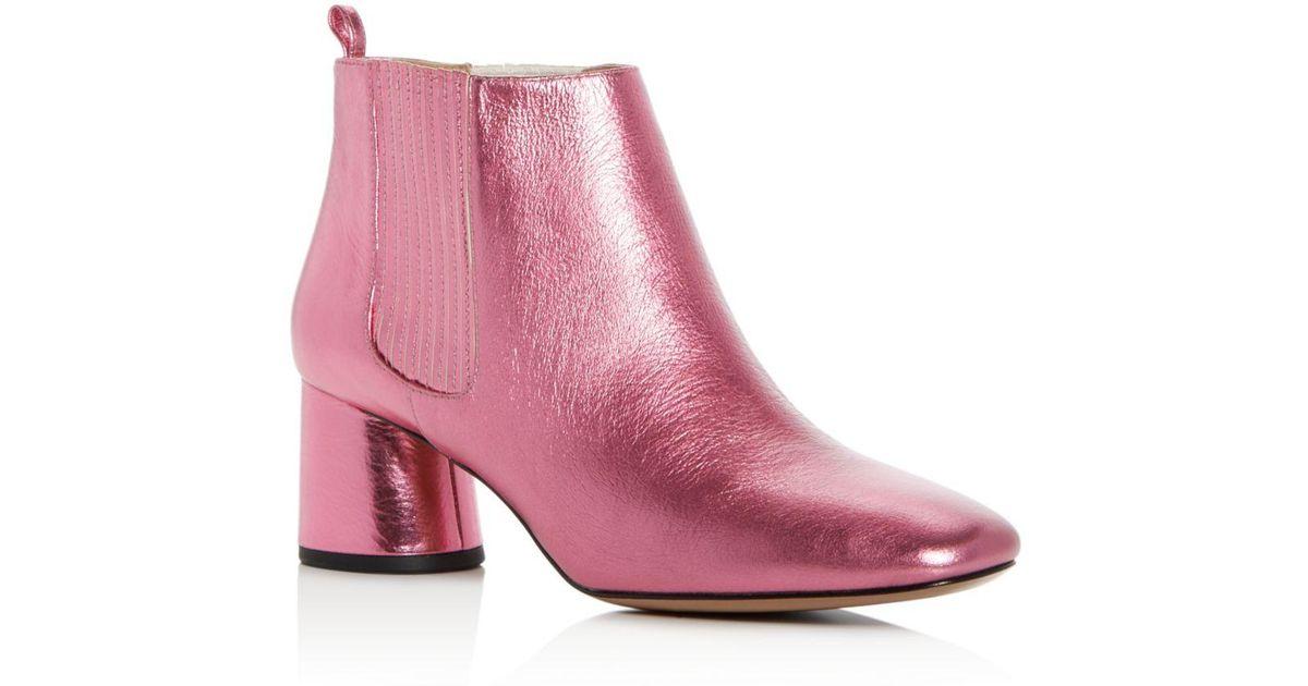 bb8a830d4763 Lyst - Marc Jacobs Women s Rocket Leather Round Block Heel Chelsea Booties  in Pink