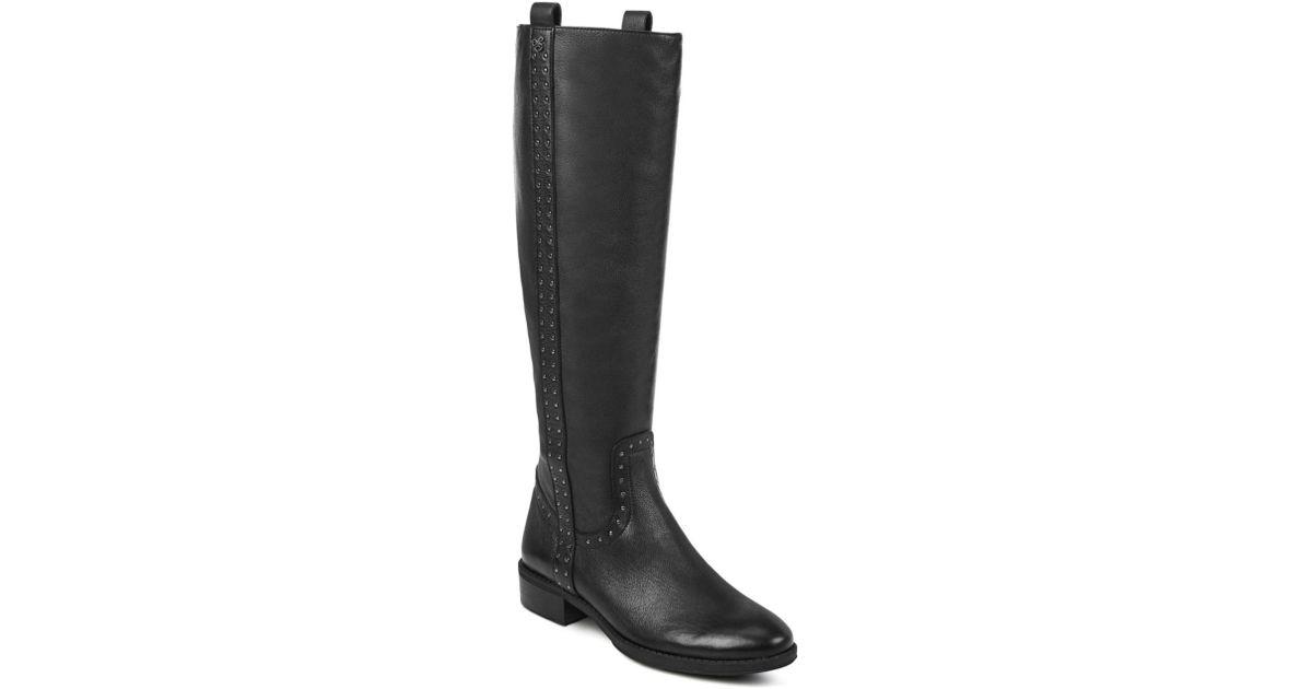 5eb725775f34 Lyst - Sam Edelman Women s Prina Round Toe Tall Leather Boots in Black