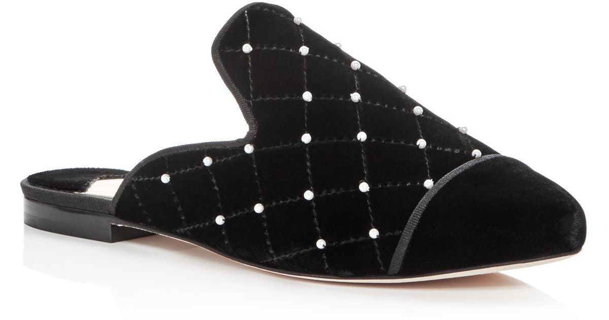 Buy Cheap Geniue Stockist Isa Tapia Women's Charleen Embellished Quilted Velvet Mules With Mastercard Sale Online Sale 100% Guaranteed Choice Cheap Price Official Site Cheap Price ncwhsg6