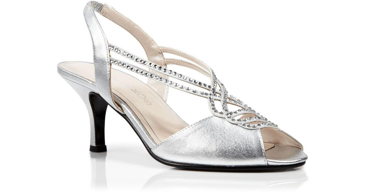 ed47997ceb3892 Lyst - Caparros Open Toe Slingback Evening Sandals - Philomena Mid Heel in  Metallic