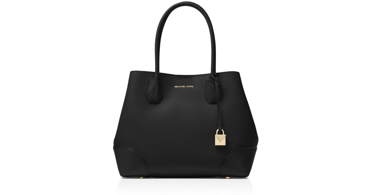 f28f1d6d25ac2 Lyst - MICHAEL Michael Kors Mercer Gallery Snap Medium Leather Tote in Black  - Save 29%