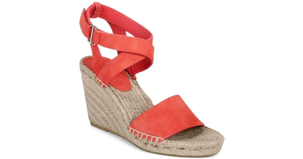 71aee926f539 Lyst - Via Spiga Women s Nevada Suede Platform Wedge Espadrille Sandals in  Red