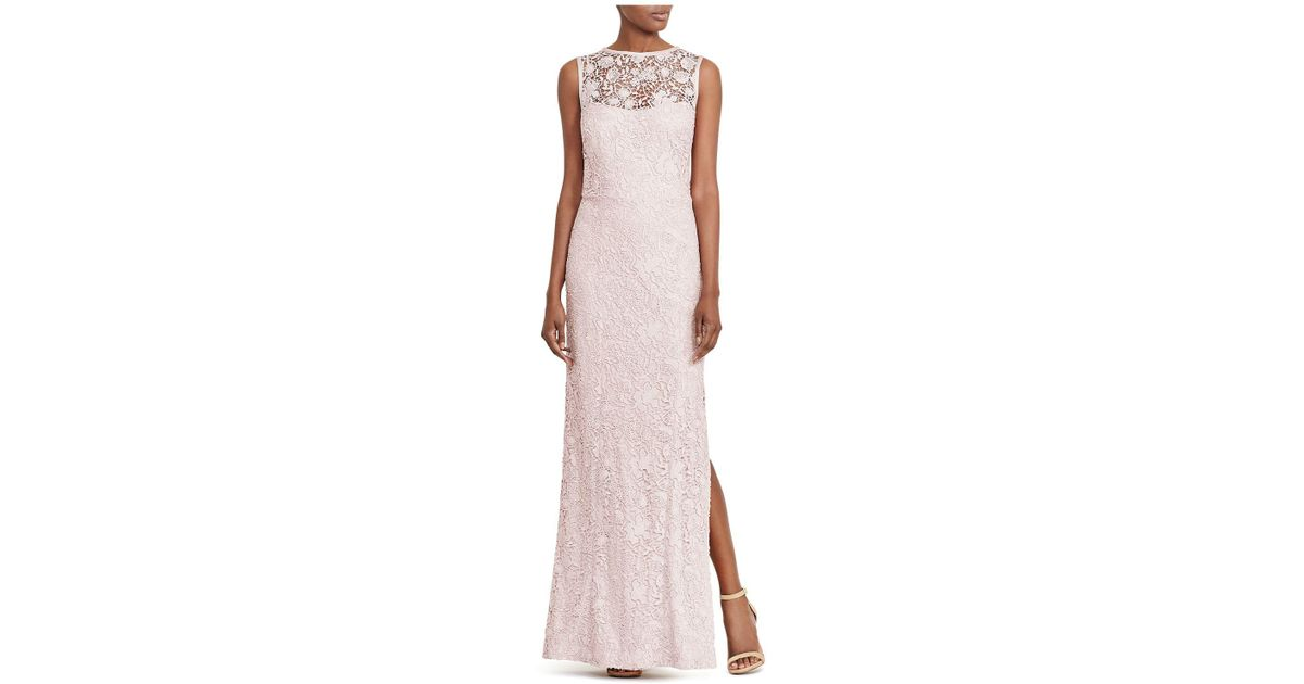 Lyst - Ralph Lauren Lauren Lace Open-back Gown in Pink