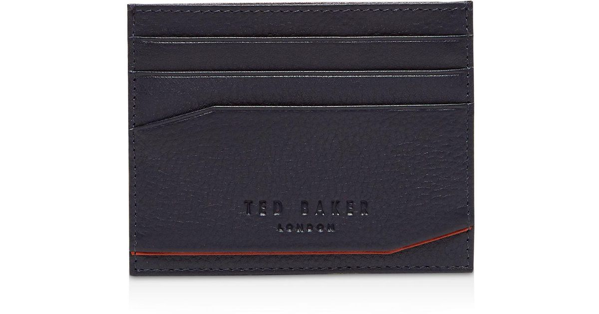 6d7940bbb Lyst - Ted Baker Binxx Colored Leather Card Case in Blue for Men