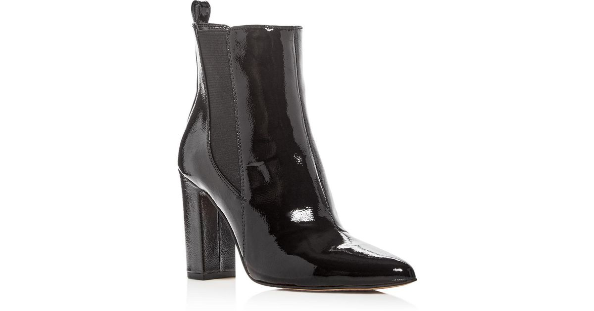 d0e91142ce47 Lyst - Vince Camuto Women s Britsy Patent Leather High Heel Booties in Black