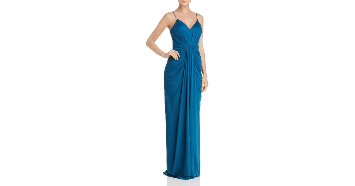 Lyst - Bariano V-neck Draped Gown in Blue