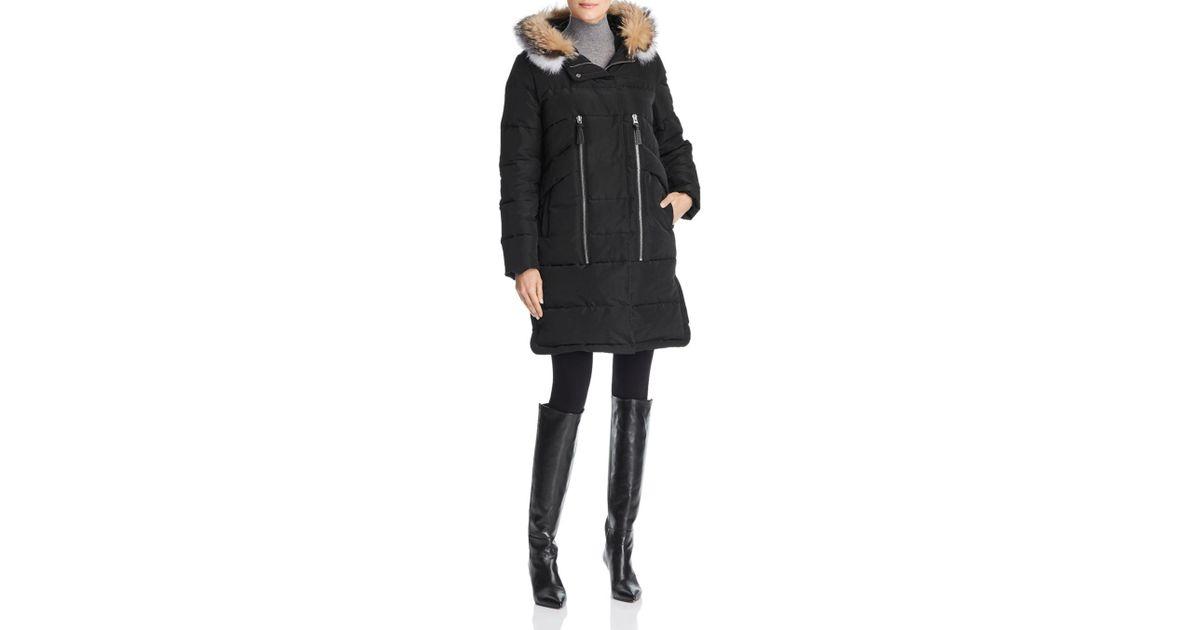 3f87535b4cf2 10 Crosby Derek Lam Hooded Fox Fur Trim Mixed Media Down Coat in Black -  Lyst