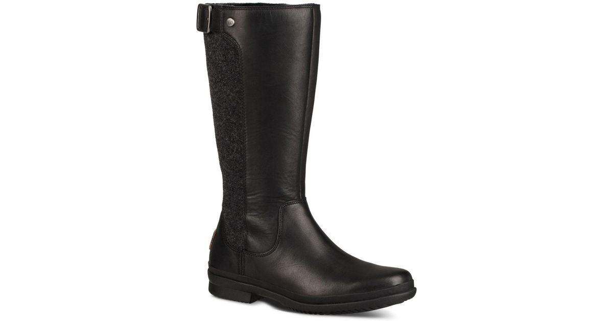 18500bf85f8 Ugg Black Women's Janina Waterproof Leather Paneled Tall Boots