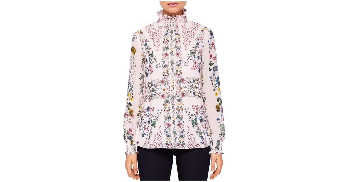 a05cdbd474ff8a Lyst - Ted Baker Meranda Unity Floral High-neck Blouse in Pink