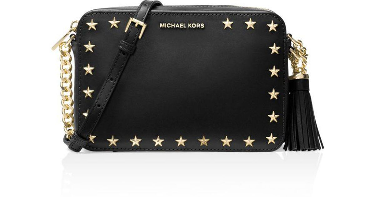 1c3822840fa MICHAEL Michael Kors Ginny Star Stud Medium Leather Camera Bag in Black -  Lyst