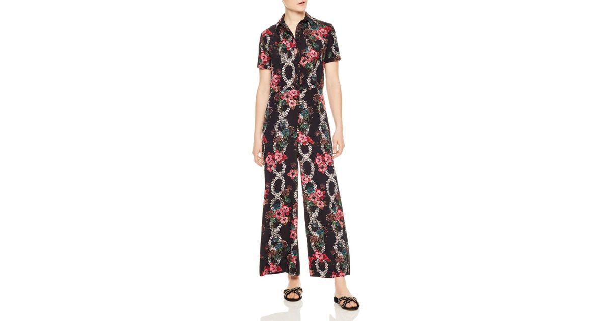 f396027685 Lyst - Sandro Tears Floral-print Wide-leg Jumpsuit in Black