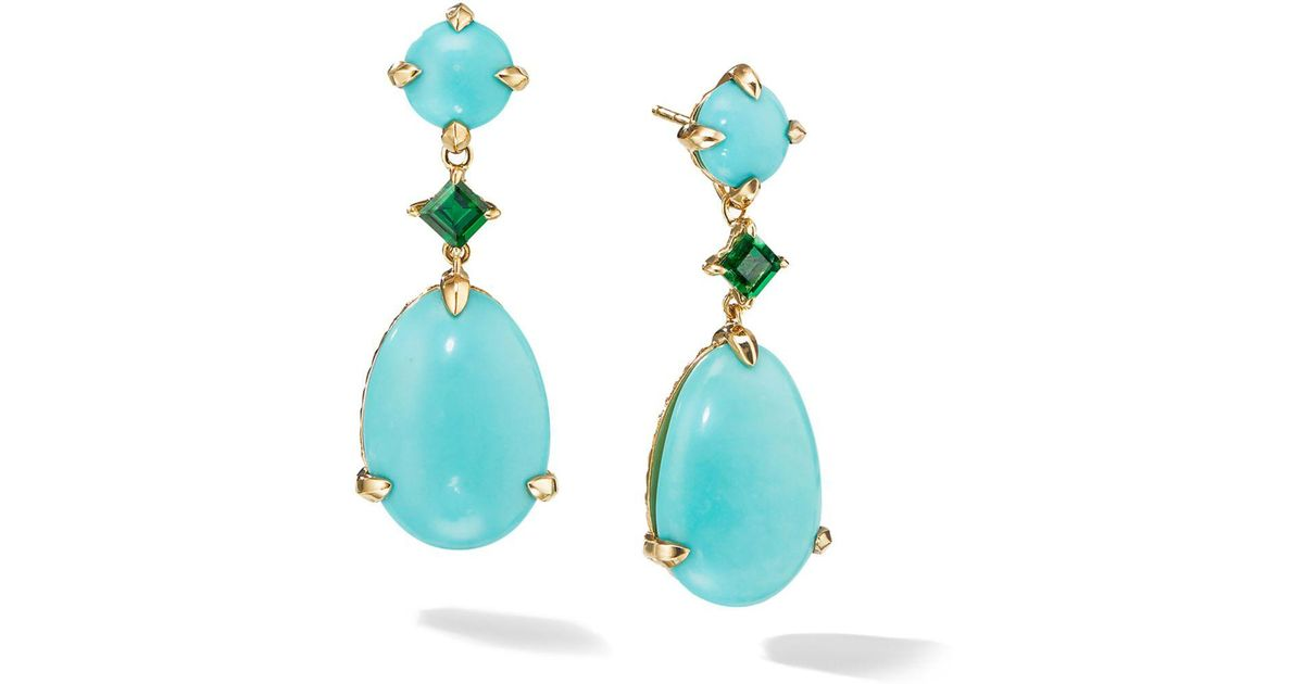 Lyst David Yurman Claine Drop Earrings In 18k Yellow Gold With Mexican Turquoise Tsavorite Blue