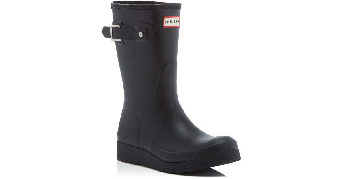 199bfabcab1a Lyst - HUNTER Women s Original Short Wedge Sole Rain Boots in Black