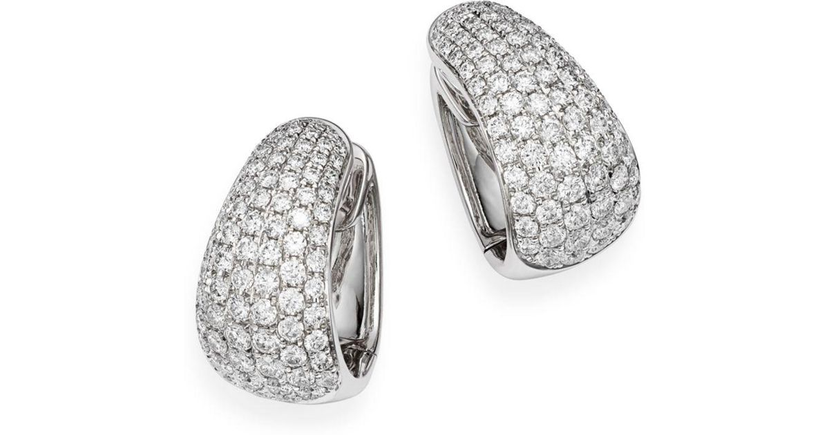 ffde4aecce915a Lyst - Bloomingdale's Pavé Diamond Huggie Hoop Earrings In 14k White Gold.  3.5 Ct. T.w. in White