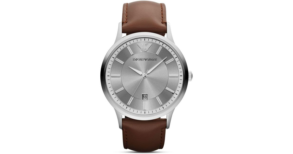 emporio armani brown leather 43mm in brown for