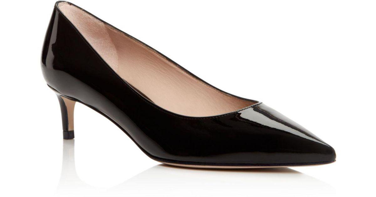 Stuart Weitzman Women's Leigh 45 Patent Leather Kitten Heel Pumps HTYDQpX