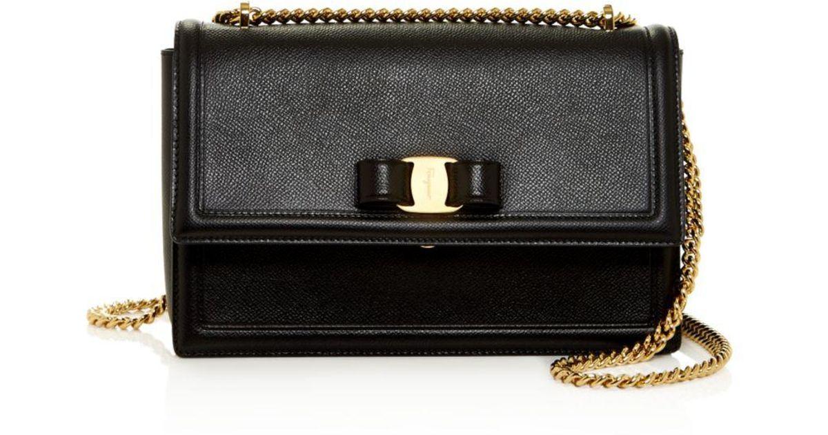 00c215b571c Lyst - Ferragamo Medium Ginny Calfskin Shoulder Bag in Black