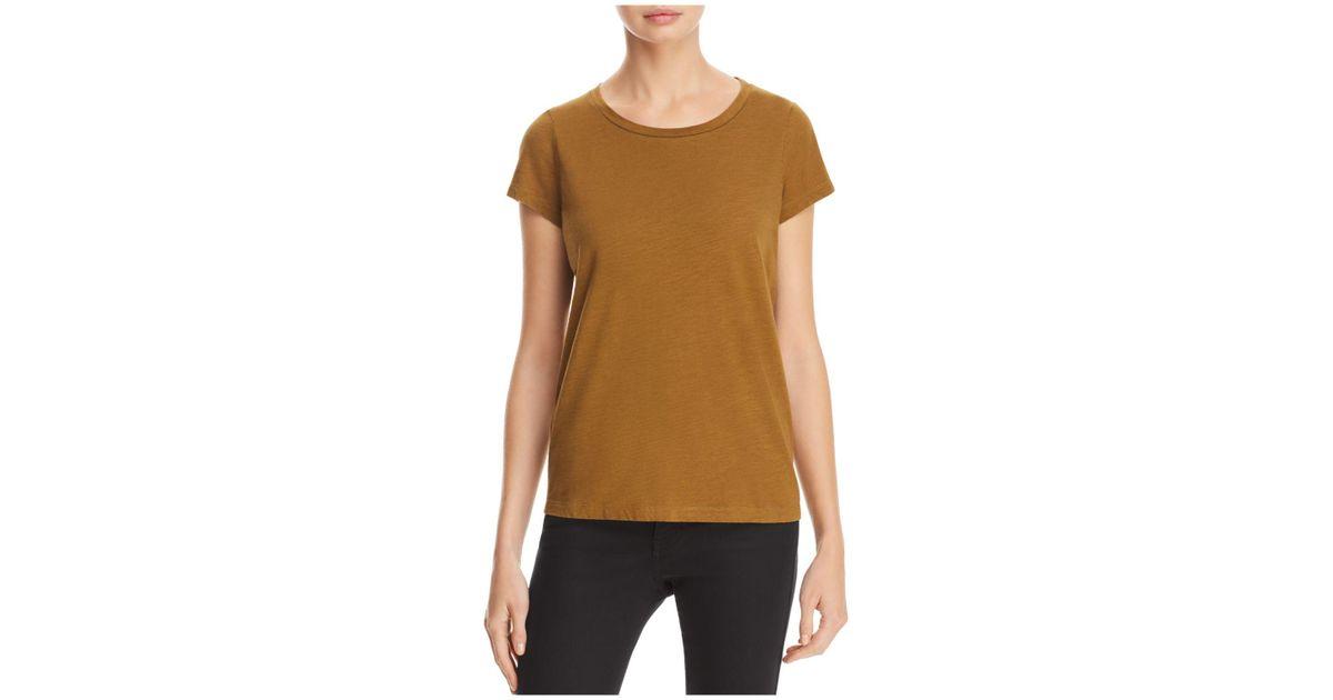 Eileen fisher organic cotton crewneck tee in brown lyst for Eileen fisher organic cotton t shirt