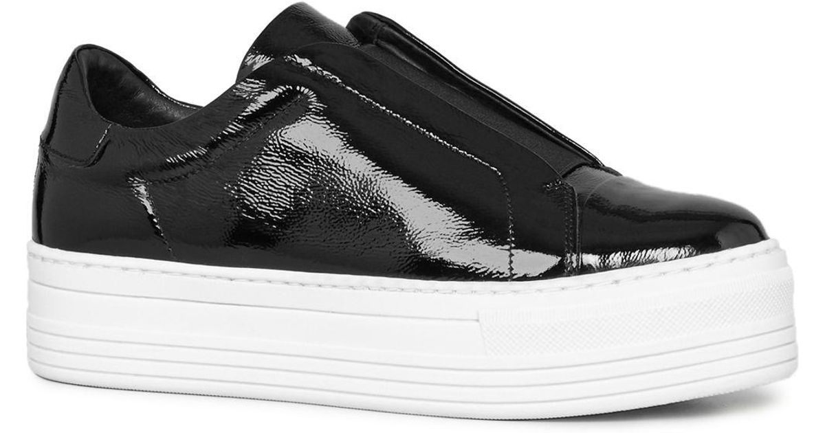 42e70671483 Lyst - AllSaints Women s Aya Patent Leather Platform Slip-on Sneakers in  Black