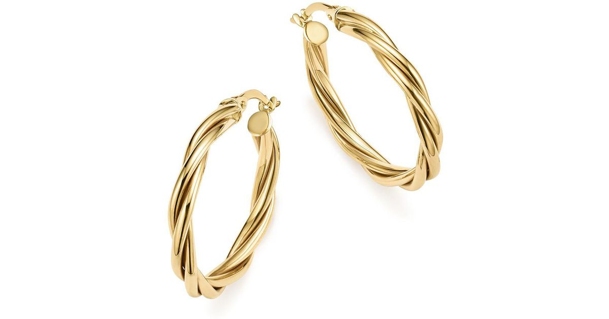 Lyst - Bloomingdale\'S 14k Yellow Gold Twisted Wire Hoop Earrings in ...