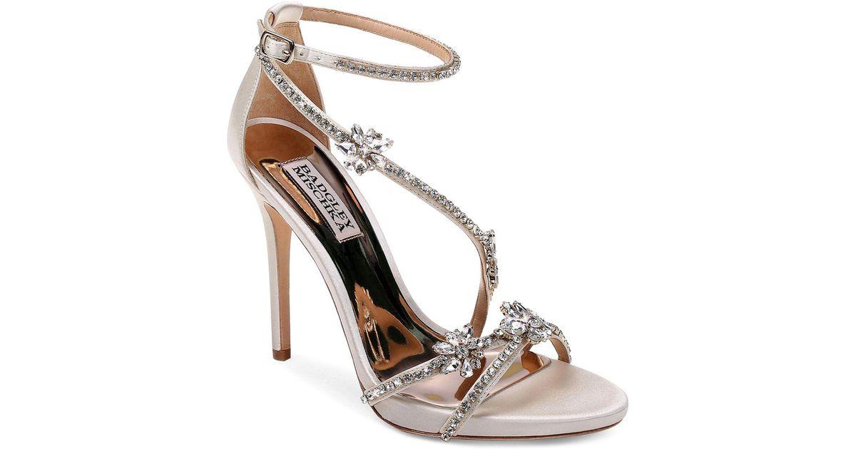 Badgley Mischka Women's Yadira Embellished Satin Triple Strap High-Heel Sandals zVcKscRsrB
